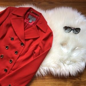 Ann Taylor Double Breasted Coat In Zesty Tomato